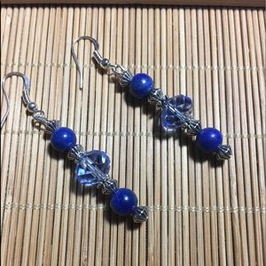 Jewelry - Handmade Silver lapis and crystal dangle earrings